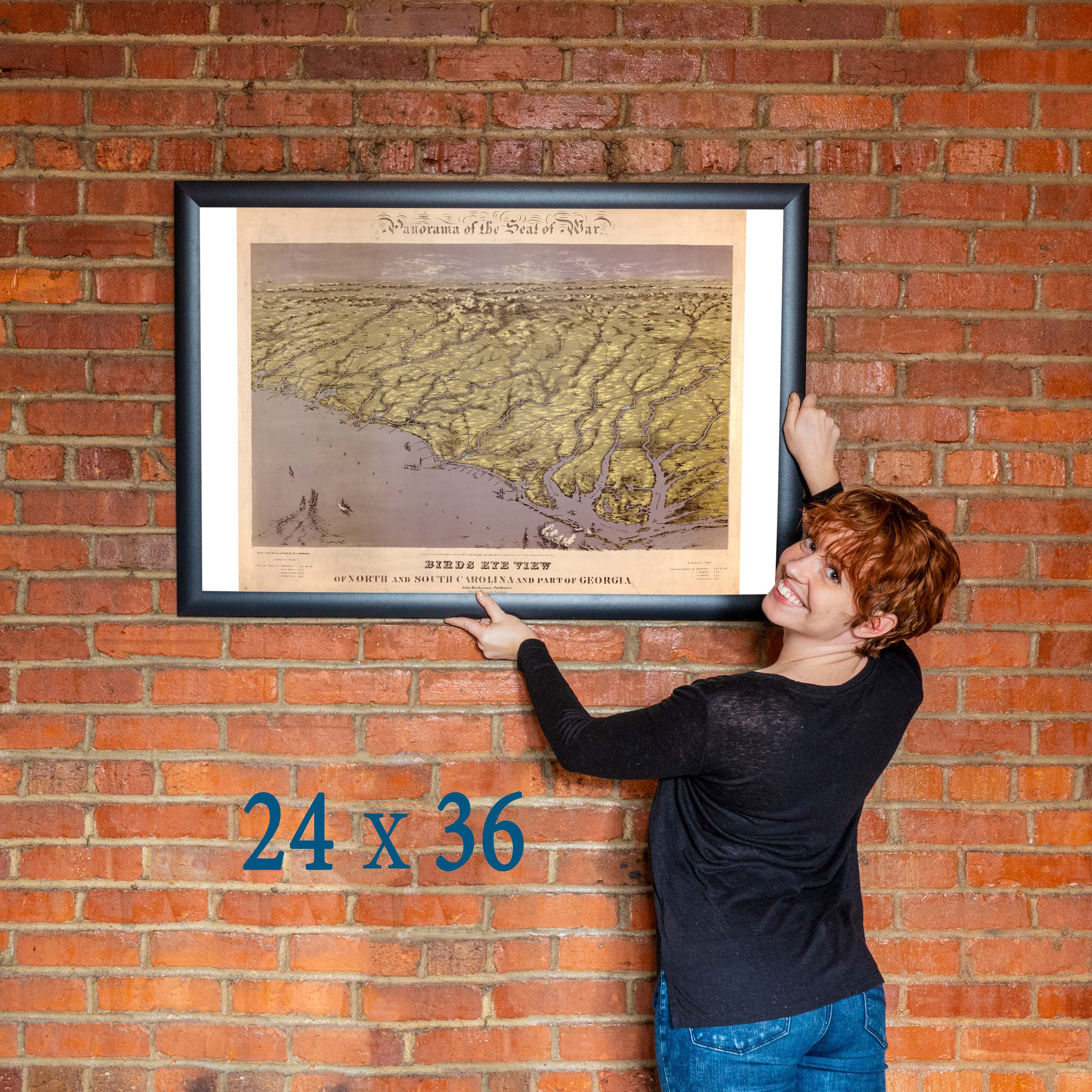 24x36 Vintage Reproduction Civil War Map North And South In 1861