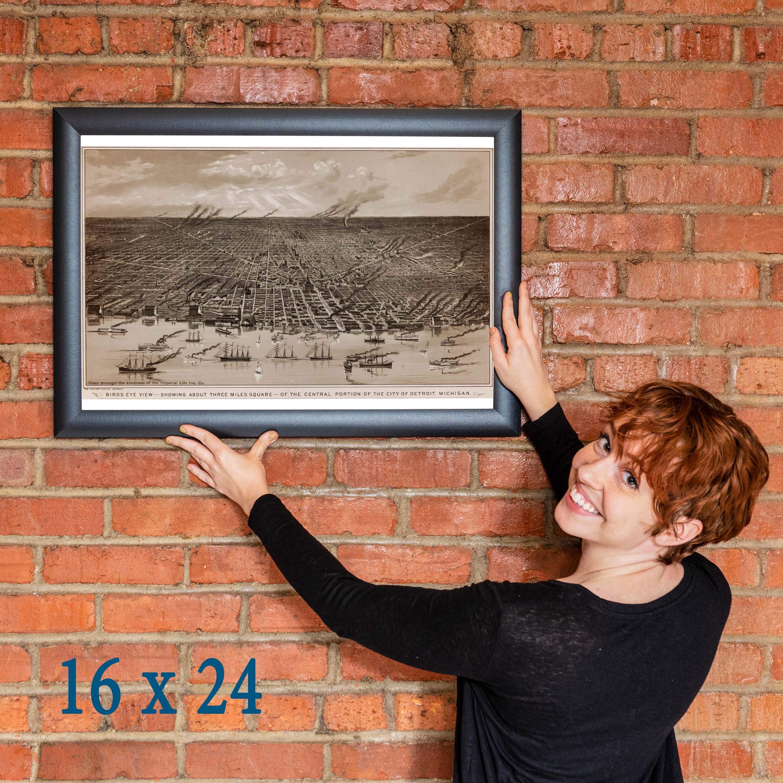thumbnail 5 - Map-of-Detroit-Michigan-by-Calvert-1889-Antique-Birdseye-Map