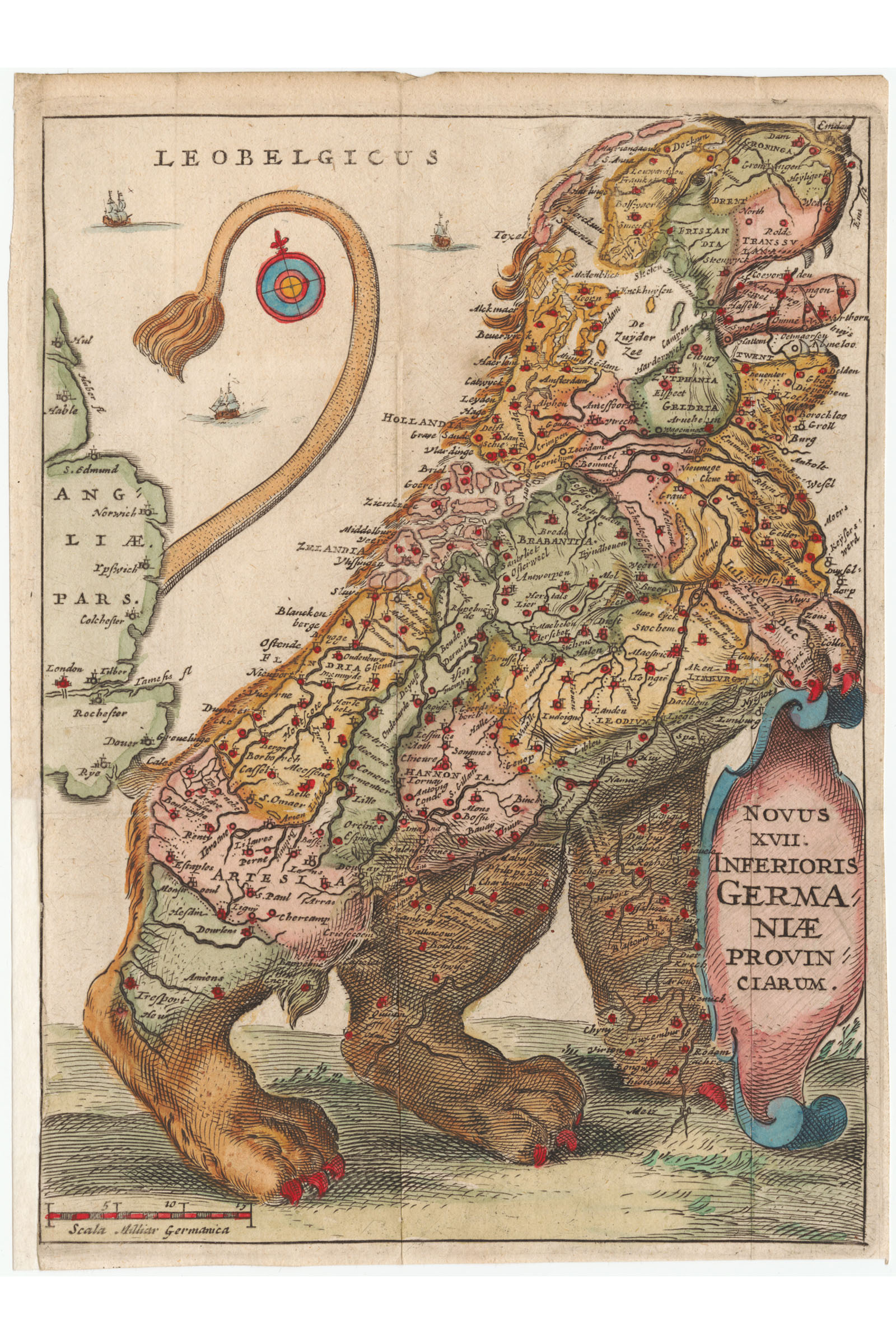 Leo Belgicus Netherlands Luxembourg Belgium Northern France Antique Style Map Po