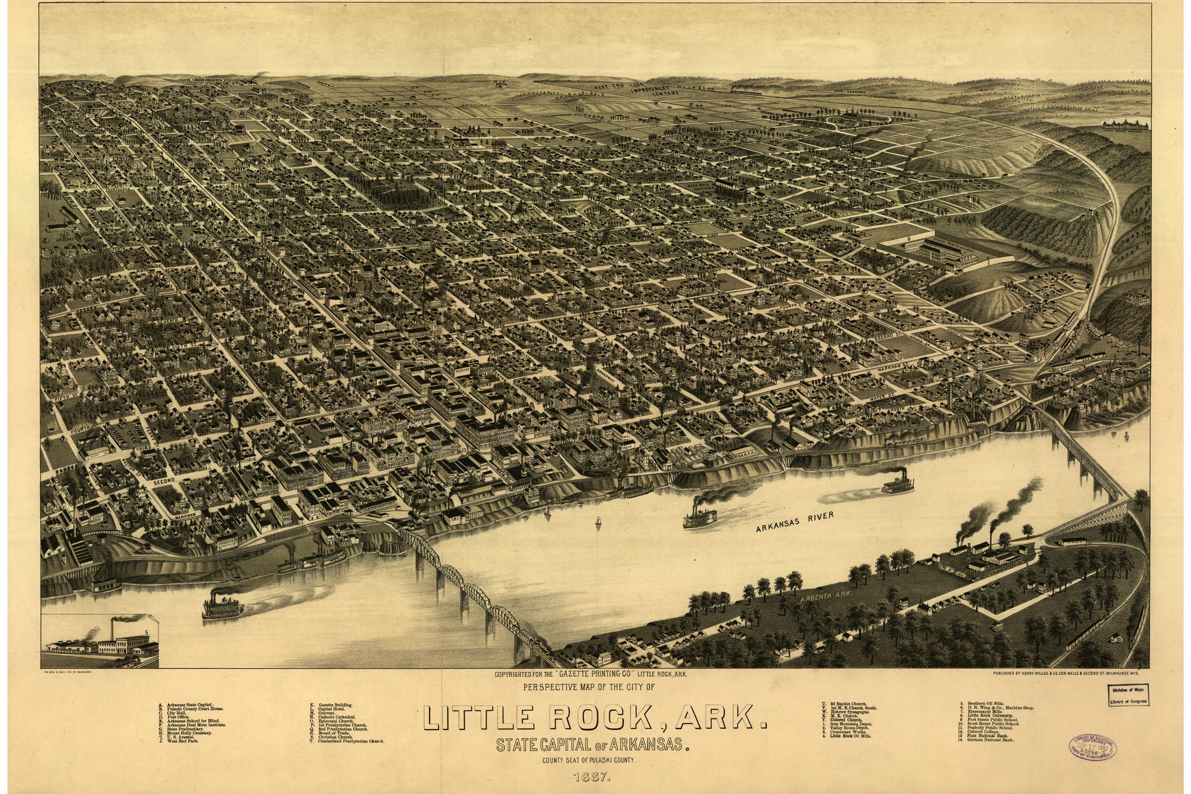 Details about Little Rock, Arkansas; Antique Map; Pictorial or Birdseye  Map, 1887
