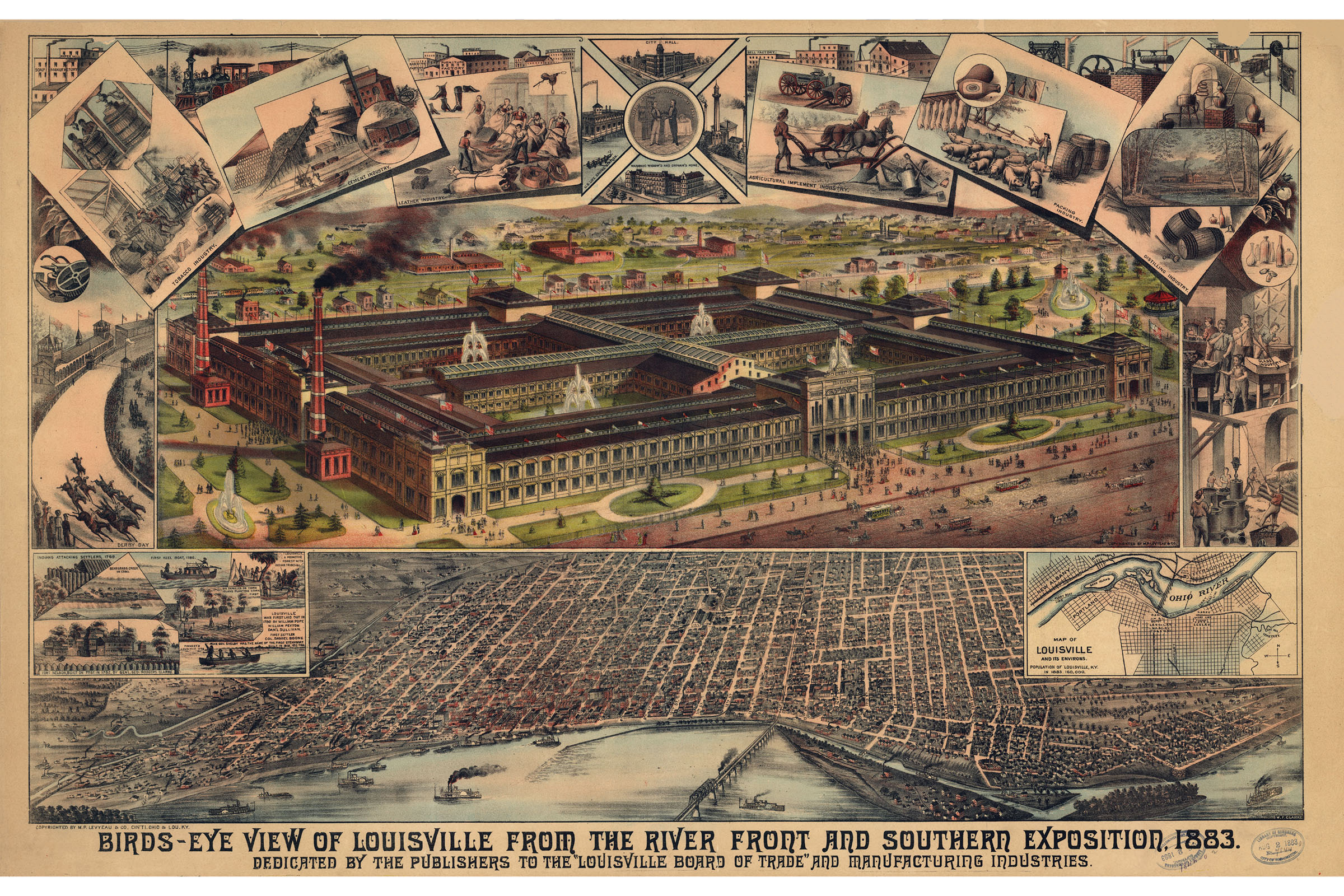 Louisville KY Southern Exposition; Antique Map; Pictorial Map 1883