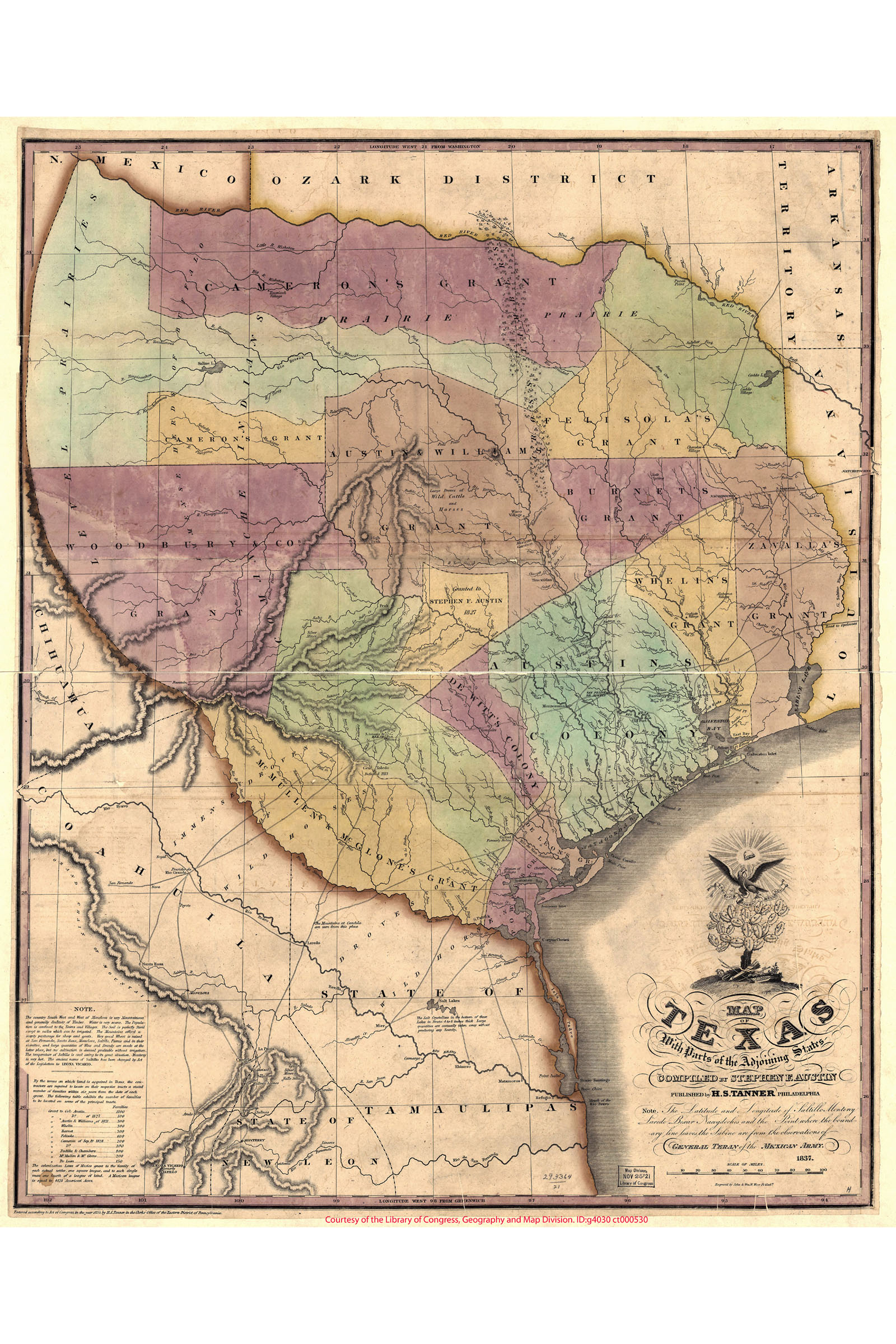 18x24 1822 Topographical Map of Texas Territory by Stephen F Austin