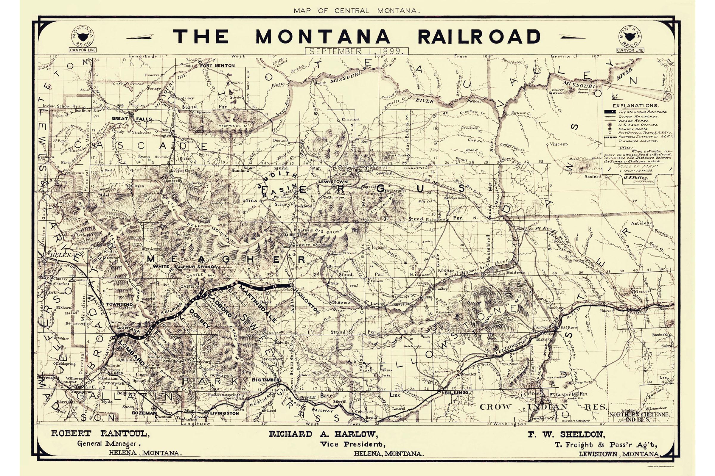24x36 Vintage Reproduction Railroad Train Historic Map Minnesota 1897
