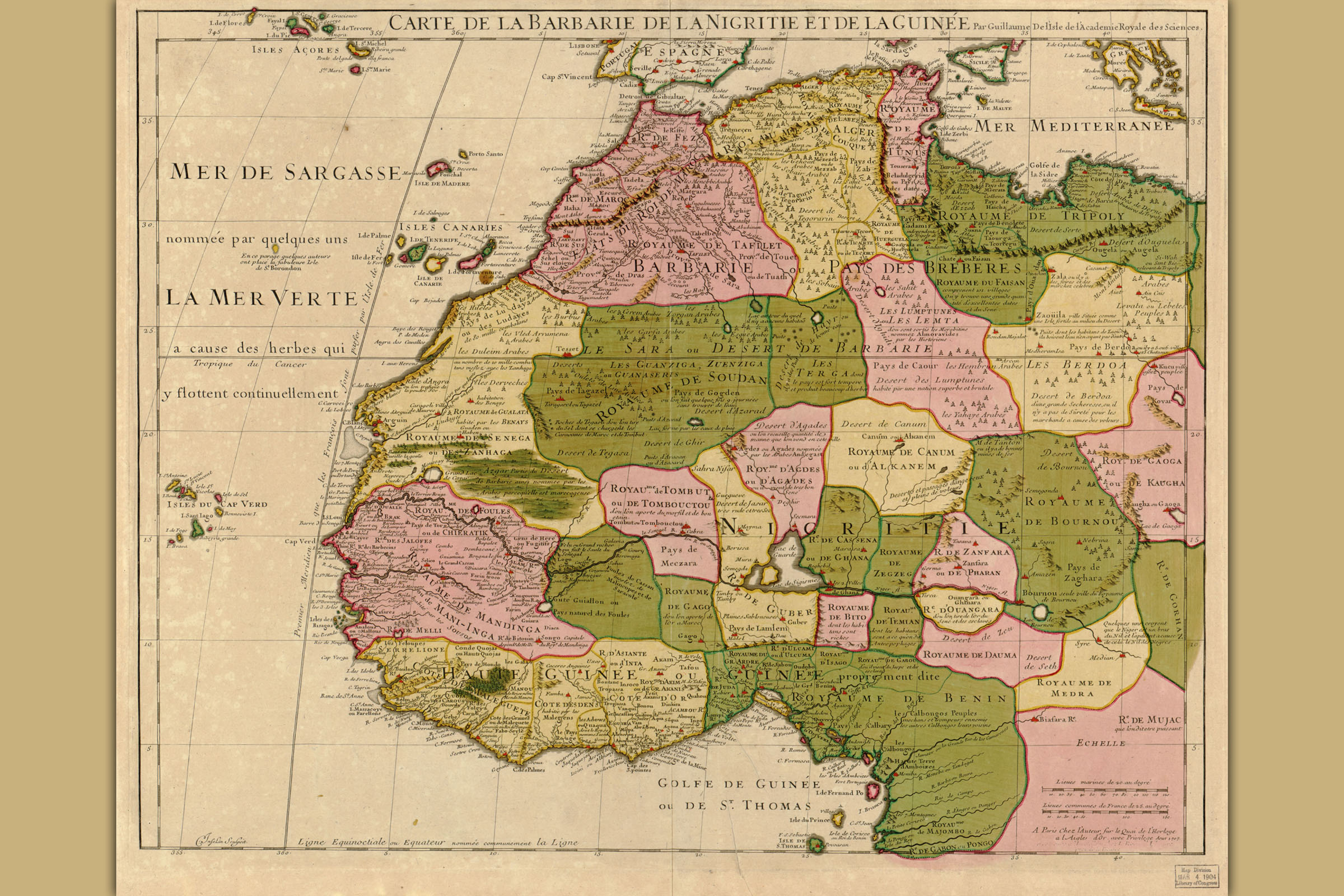 Map Of Northwest Africa Northwest Africa; Antique Map by Guillaume Delisle, 1707 | eBay