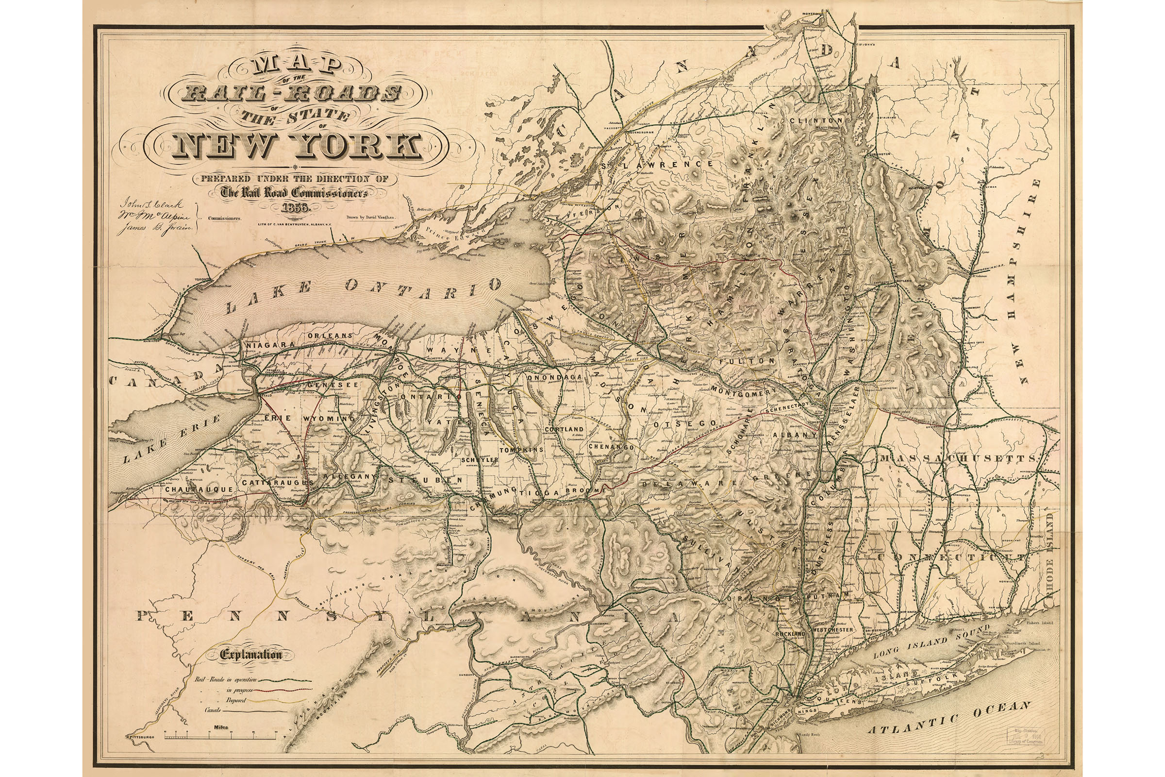 Details about Railroad Map, New York State; Antique Map, 1856