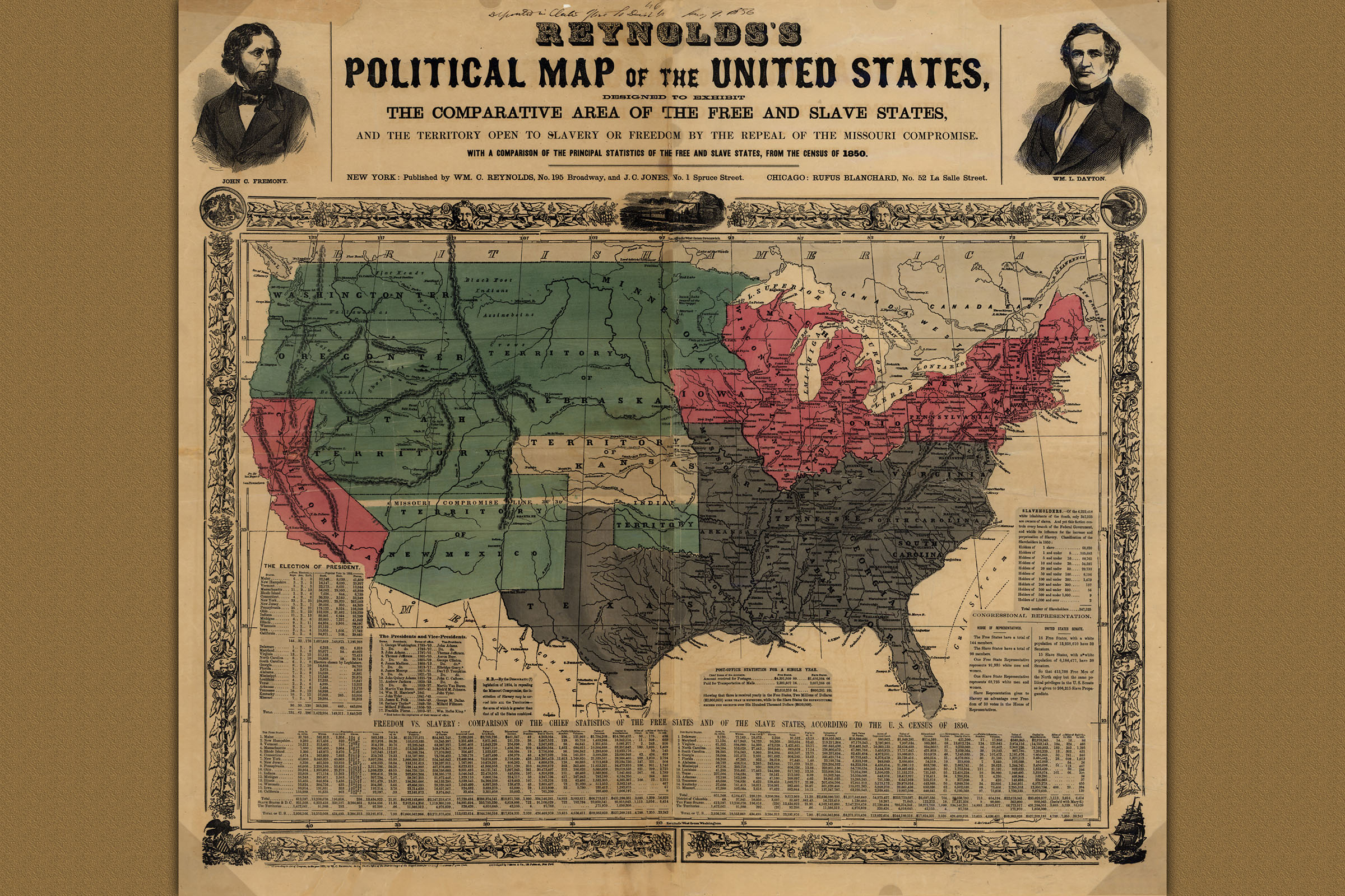 Details about Reynolds\'s Political Map of United States; Civil War, 1856  Historic Map