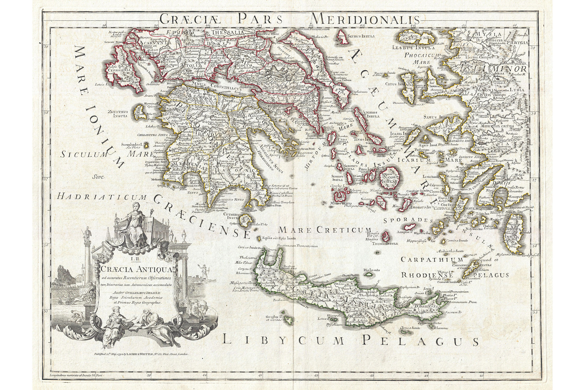 Details About Southern Ancient Greece Greek Isles Crete Antique Map 1794